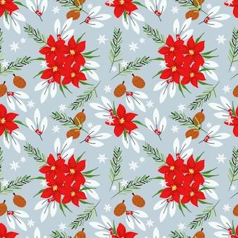Seamless christmas poinsettia floral pattern