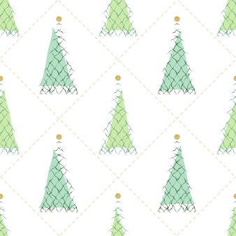 Seamless christmas season with abstract green pine trees with glitter element pattern background