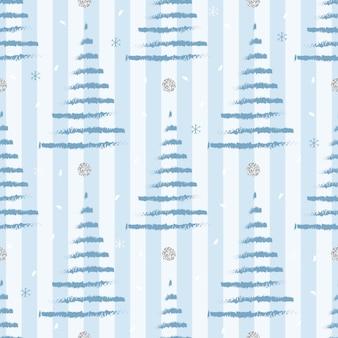 Seamless christmas season with blue pine tree with shiny snowflake pattern on stripe background