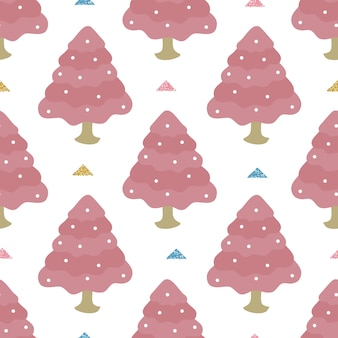 Seamless christmas season with hand draw pastel glitter pine trees pattern background