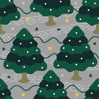 Seamless christmas season with hand draw pine trees pattern background