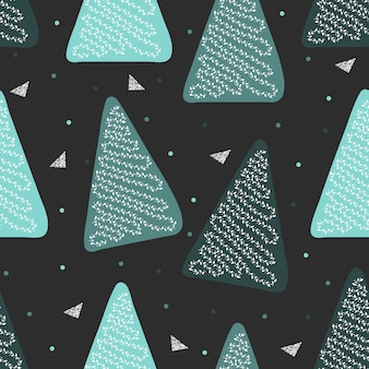 Seamless christmas season with pine tree shape with glitter triangle pattern background
