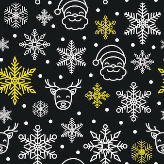 Seamless christmas snowflake vector pattern background