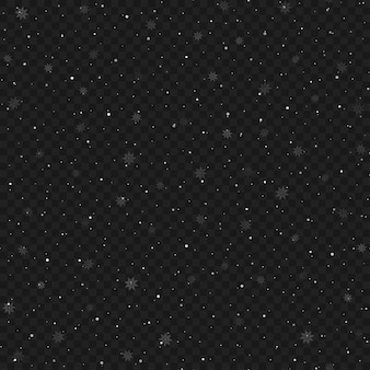 Seamless christmas snowy transparent background. vector.