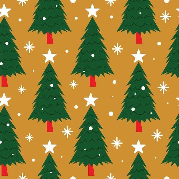 노란색 바탕에 스타와 함께 완벽 한 크리스마스 트리 패턴
