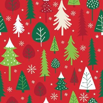 빨강 및 녹색 색상의 원활한 크리스마스 트리