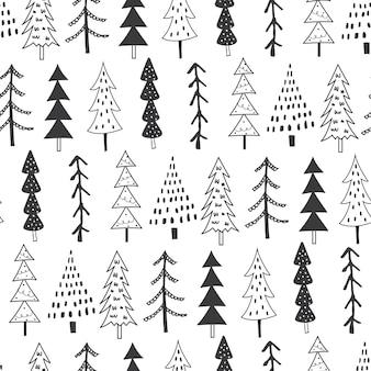 화이트와 블랙 컬러의 원활한 크리스마스 트리