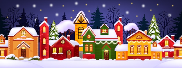 Seamless christmas winter illustration with decorated holiday houses, snow, town, trees silhouette