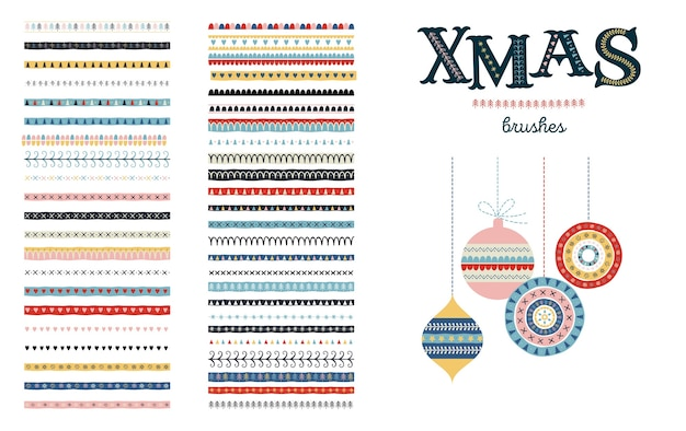 Seamless christmas and winter pattern brushes