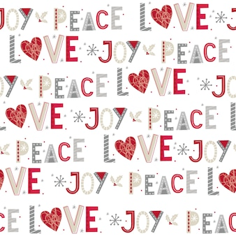 Seamless christmas with joy,peace and love seamless pattern