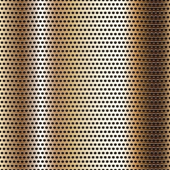 Seamless chrome metal surface, background perforated golden sheet