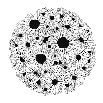검은색 꽃이 있는 원활한 원흑백 컬러 책 꽃이 있는 색칠 공부 페이지