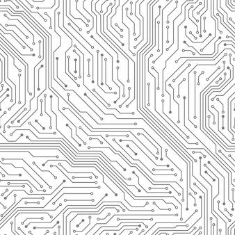 Бесшовная печатная плата. цифровая технология электрическая схема печатная материнская плата компьютерный чип электронное оборудование узор вектор текстуры. материнская плата, иллюстрация схемы процессора