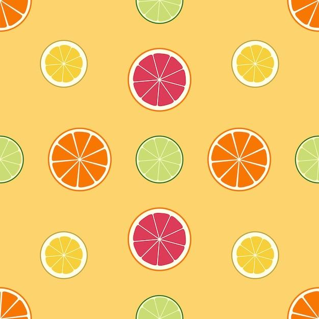 シームレスな柑橘系のパターン。レモン、ライム、オレンジ、グレープフルーツ。ジューシーな食感、さまざまな果物のスライスの背景。フラットなデザイン。ベクトルイラスト。