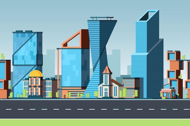 シームレスな街。建物のある都市景観と街路交通パノラマ2dゲームパターンのあるオフィス街並み