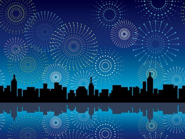 Silhouette di paesaggio urbano senza soluzione di continuità con fuochi d'artificio