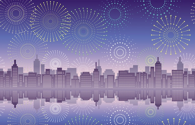 Seamless cityscape with fireworks