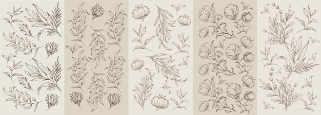 Seamless classic brown vintage pattern with floral and plant hand drawn