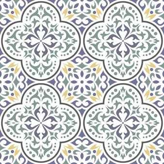 원활한 클래식 타일 패턴입니다. 관 상용 꽃 배경입니다.