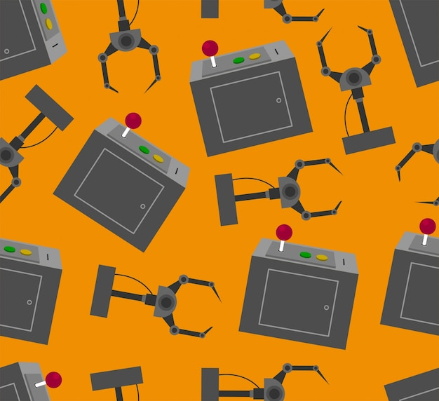 Seamless claw machine  pattern with orange background