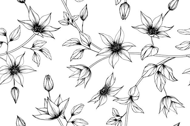シームレスなクレマチス花のパターンの背景。