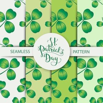 聖パトリックの日のための3つの葉で設定されたシームレスなクローバーパターン。