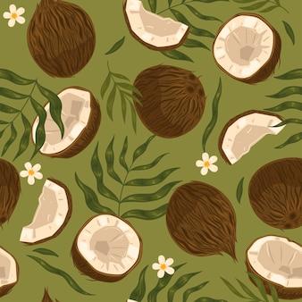 Бесшовный образец кокоса с листьями и цветами. векторная графика. Premium векторы