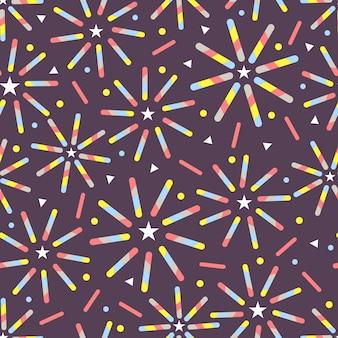 ライン、星、ドットから紫色の背景にシームレスなcofettiカラフルな花火のパターン