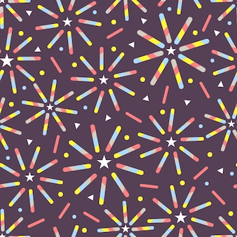 Seamless cofetti colorful firework pattern on violet background from line,star and dot