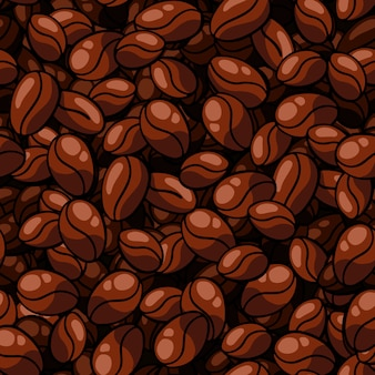 Seamless coffee bean pattern on solid background