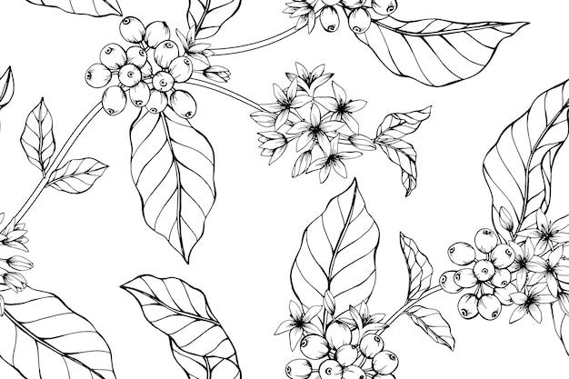 Seamless coffee flower pattern background.