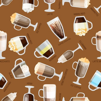 Seamless coffee pattern vector illustration. natural hot retro beverage wallpaper. aroma latte element food design. caffeine restaurant decorative.