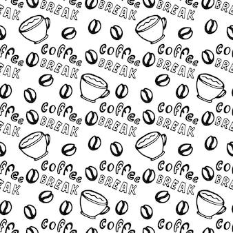 Seamless coffee pattern with coffee grains, cups and lettering - coffee break.