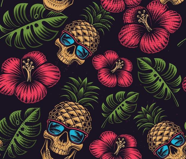 Бесшовный цветной узор на гавайской теме с ананасовым черепом на темном фоне