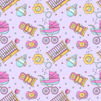 Seamless color pattern with baby accessories