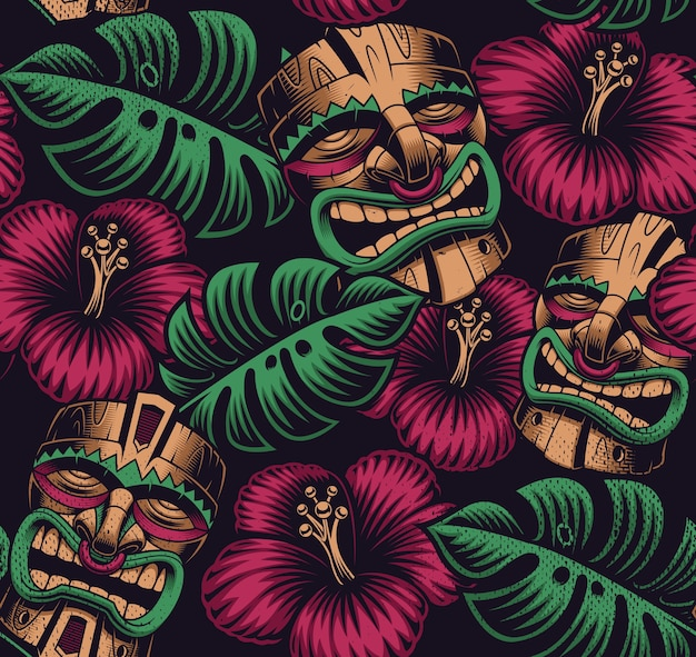 Seamless color pattern with a tiki mask on polynesia style on dark background