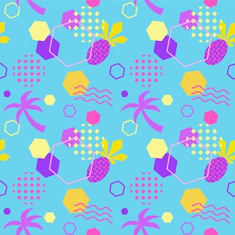 Seamless color summer pattern with pineapple and palm