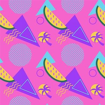 Бесшовные цветные летние узоры с арбузами и пальмами