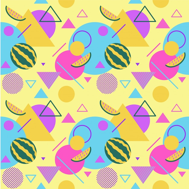 Seamless color summer patterns with watermelons and palms