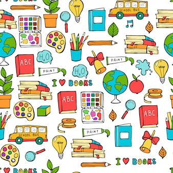 Seamless colored back to school pattern with supplies stationary and creative elements.