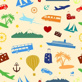 Seamless colored pattern composed of travel and tourism symbols.