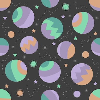 Seamless colorful abstarct planet with silver dot glitter pattern on white background