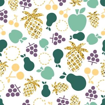 Бесшовные красочный и золотой блеск смесь фруктов на белом фоне
