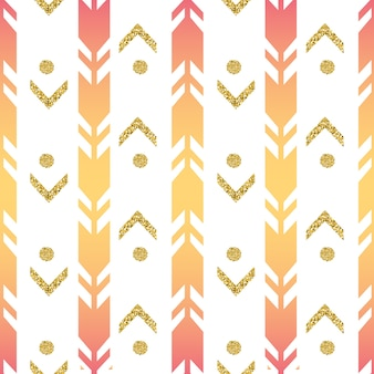 Seamless colorful arrow with gold dot glitter pattern on white background