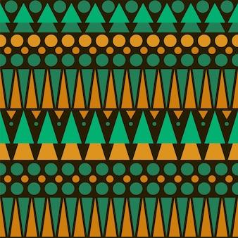 シームレスなカラフルなアステカパターン。ブラウン、グリーン、オレンジのシンプルな柄。壁紙、カード、テキスタイルに最適です。