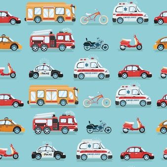 Seamless colorful car cartoon pattern  illustration