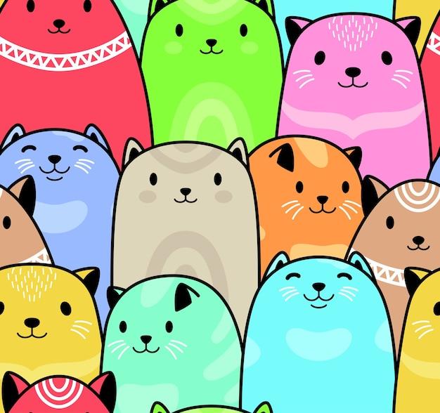 シームレスなカラフルな猫ベクトルパターンの背景