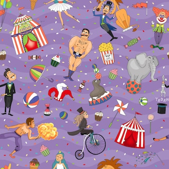 Seamless colorful circus background pattern with random animals