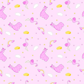 Seamless colorful cute doodle pattern