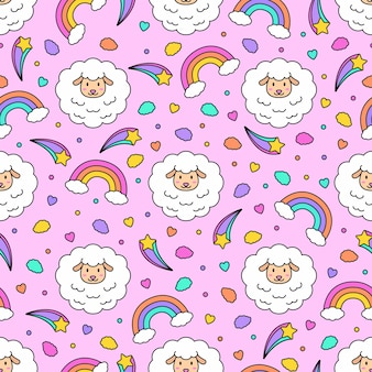 Seamless colorful cute sheep vector pattern background